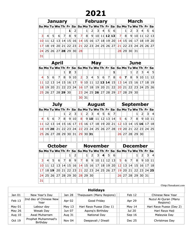 Full calendar 2021